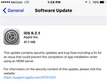 iOS 9.2.1 Διαθέσιμο για  iPhone  iPad  iPod Touch